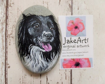 Pets, painted stone, pet portrait, painted rock, ornament, gift for her, gift for him, cats, dogs, painted pebble, home decor, paperweight,