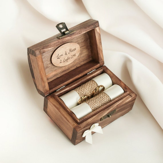Personalized wedding ring box wooden ring box ring holder junglespirit Image collections