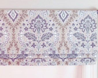 Faux (fake) Flat Roman Shade Valance.  Premier Prints Brussels Amethyst.  Blue and Grey.  Other colors available.