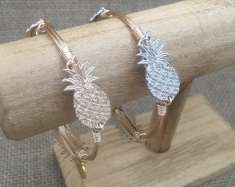 "1.25"" Gold or Silver Pineapple Wire Wrapped Bangle Bracelet"