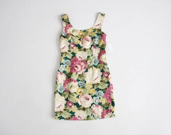 RESERVED ITEM! floral linen dress | sleeveless floral dress | short linen dress