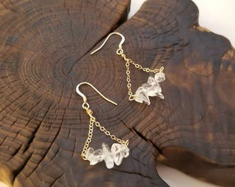 Clear Crystal Quartz Earrings, Crystal Earrings, Quartz Earrings, White Dagle Earrings, Bridal Earrings, April Birthstone Earrings