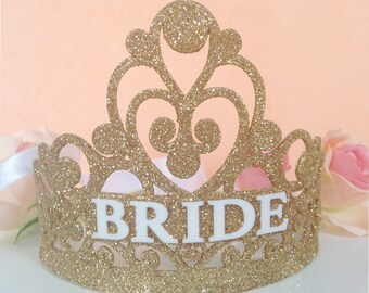 Bride Crown - Bachelorette Party Crown - Bridal Shower Crown - Bachelorette Crown - Flower Crown - Bride To Be Crown - Gold Glitter Crown
