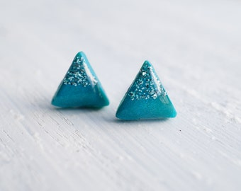 Teal Glitter Geometric Triangle Stud Earrings