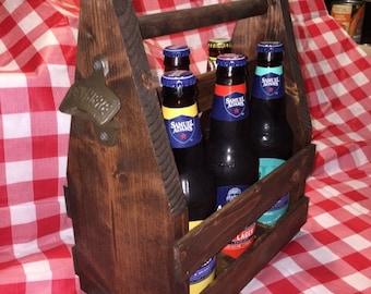 Beer Caddy, Solid Wood, Custom Made, Bottle Opener