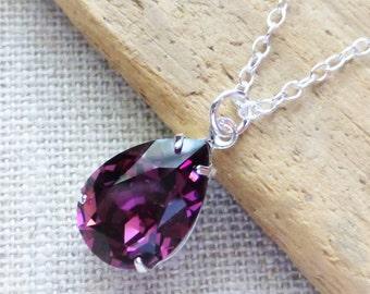 Amethyst Swarovski Crystal Necklace, Purple Teardrop Sterling Silver Necklace, Bridesmaid Necklaces, Crystal Pear Rhinestone, Gifts, Wedding