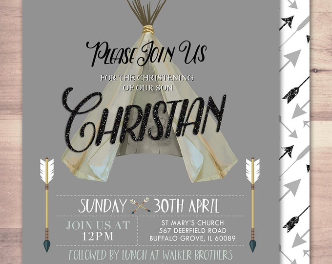 Christening, pow wow, Baby Shower Invitation, Indian Baby shower Invite, aztec baby shower invite,boy, invitation, BOHO, Tribal