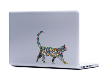 Ornate Cat laptop sticker   cat lover FREE SHIPPING kitten crazy cat lady cat cell phone decal car window sticker cat decor cat lover gifts