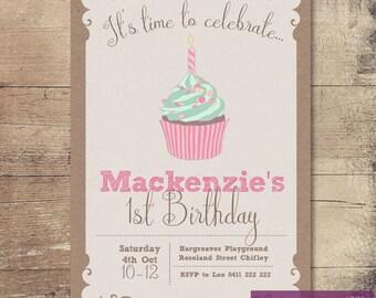 Printable Cupcake Birthday Invitation / Customisable Digital File / JPG or PDF / Pink, Green, Brown paper, Kraft card