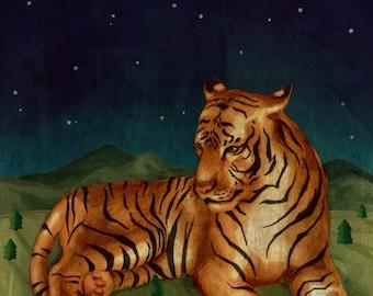 Giant Tiger Art Print - Graphite & Digital Illustration, Animal Art, Nature Print, Mountains Painting, Whimsical Art Print, Wall Art