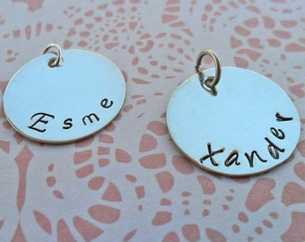 Silver Name Charm - Personalized Name - Sterling Silver Hand-Stamped Name Charm- Add-on - Sterling Silver - S127