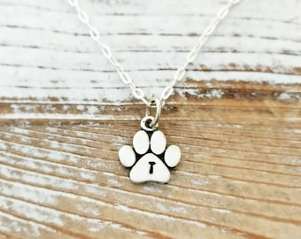 Paw Print Necklace. Pet jewelry - gift for her - cat lady - dog lover - dog person - pet necklace - animal - fur baby - sterling silver
