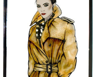 Burberry Trench Cara Delevingne print, Burberry Fashion Illustration, Bedroom and Home Décor, Fashion Art