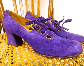 60s Mod Heels, Purple Suede Shoes, Vintage 1960s Pumps, Women's 6.5 N, Lace Up Heels, Brass Grommet Detail, Joyce California