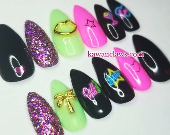 Neon & Glitter Signs Swarovski  Gel Nail Art Press on Nails