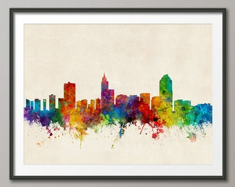 Raleigh Skyline, Raleigh North Carolina Cityscape Art Print (1770)