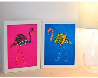 Hot Pink Dashiki Flamingo Hand Embroidered Picture