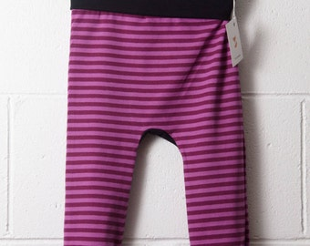 4-6x - CLEARANCE - Certified Organic Cotton Grow with Me Leggings - Pink & Raspberry Stripes with Black Trim