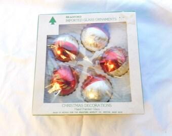 Vintage Box Of Bradford Imported Glass Christmas Tree Ornaments