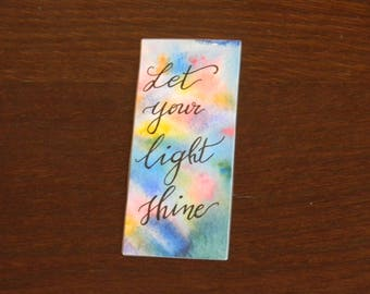 Rainbow watercolor bookmark with inspiring quote