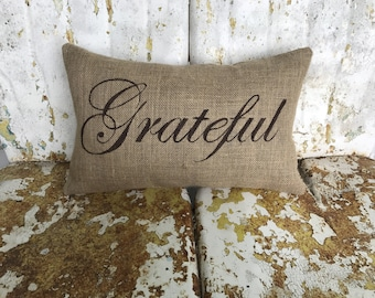 GRATEFUL in Script Lumbar Style Fall Thanksgiving Painted Burlap Throw Accent Pillow Home Decor