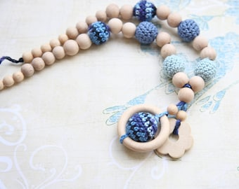 Blue floral necklace. Mammy and baby teething necklace. Girls crochet necklace.