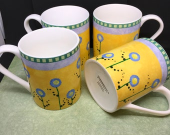 Mugs Cups Coffee Tea One of A Kind Unique Hand Painted Corning Ware HAPPY FLOWER   SET of 4  Yellow, Blue, and Green Kitchen Decor Drinkware