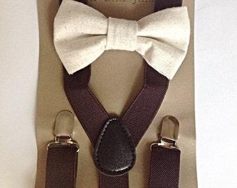 Little boys brown suspender and linen bow tie set
