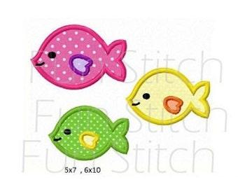school of fish applique machine embroidery design