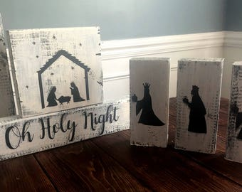Hand-Painted 6-pc Nativity Set | Nativity Scene | Block Nativity | Manger Scene | Three Wise Men