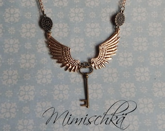 Necklace wings and key