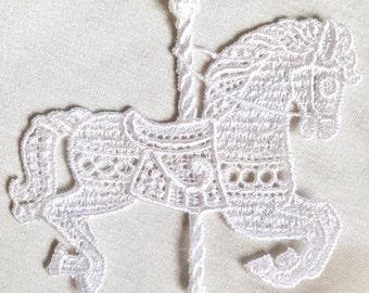 Vintage White Ivory Carousel Horse Venise Lace Applique #96