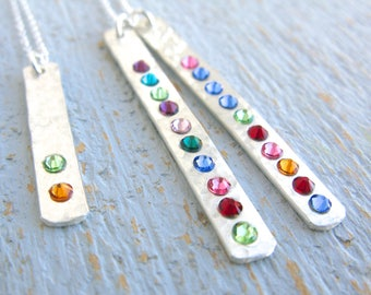 Birthstone Necklace, Birthstone Bar Necklace, Simple Birthstone Necklace, Individual Birthstone Necklace, Custom Birthstone Necklace,