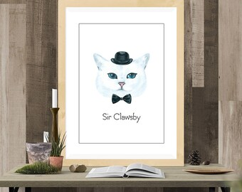 Sir Clawsby Digital Cat Print