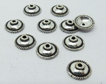 10 Pieces Bead Cap 925 Sterling Silver 9mm Round