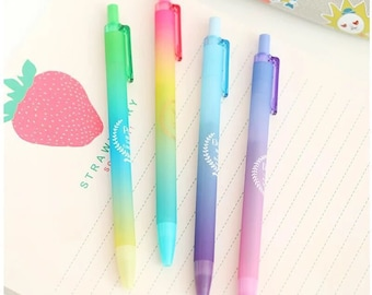 Set Of 4 Pretty Rainbow Pastel Coloured Gel Pens
