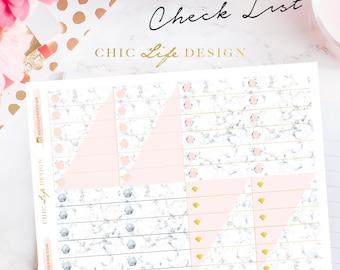 Marble Planner sticker - Erin Condren / Happy Planner / Kikki K A5, Personal ( Checklist )