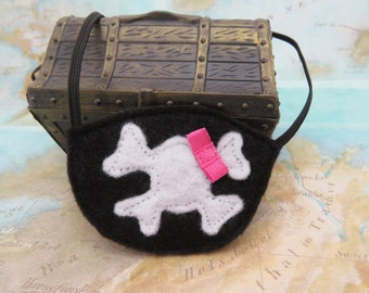 Girls Pirate Eye Patch - Eye Patch With Bow - Pirate Costume Accessory - Skull and Cross Bone - Pirate Party