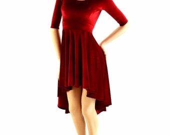 Red Stretch Velvet Half Sleeve Hi Lo Dress with Scoop Neckline 153995