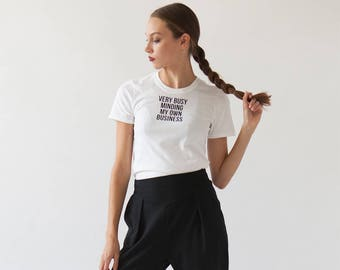 V. Busy Tee   Funny Graphic T-shirt   Typography   Font Lover   Black and White Tee