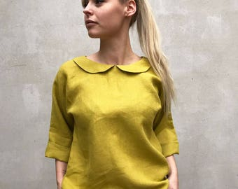 Cute Linen Blouse with Peter Pan collar, Linen Shirt Women, Linen T Shirt, Linen Tee, Plus size shirt, Linen Blouse, Cute Top, Green Blouse