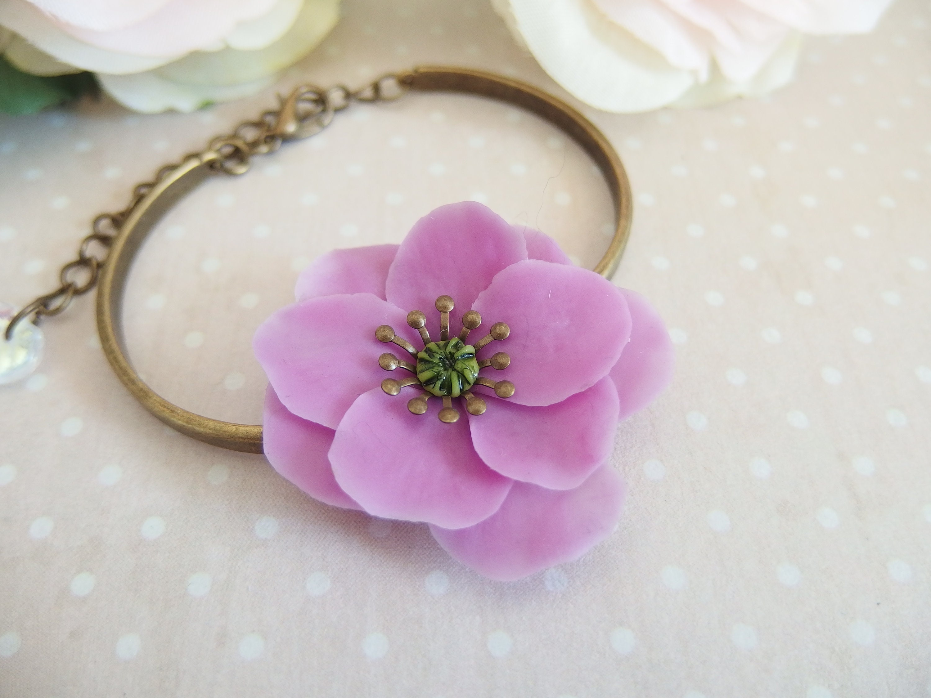 Cold porcelain ring with orchid