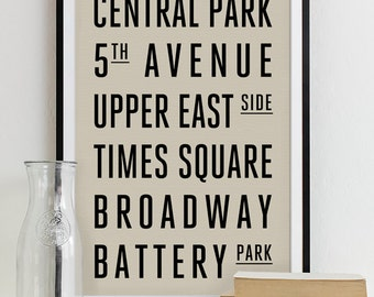 Subway Sign Art Bus Roll Typography Poster - Subway Print NEW YORK City