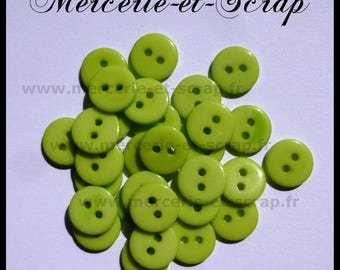 Lot 15 round buttons 2 holes 11mm light green baby scrapbooking cardmaking