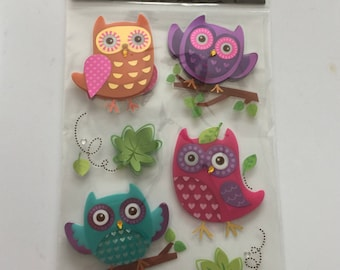 Scrap-booking Stickers Paper Craft Owl Themed Bright Colors Blue Pink Green Sticker