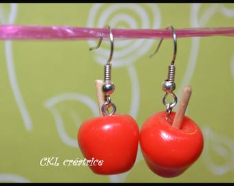 Fimo translucent red Candy Apple shape earrings