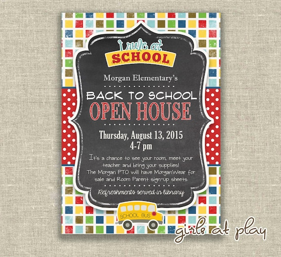 Items similar to Back to School Open House Chalkboard Invitation
