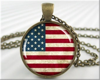 US Flag Pendant, American Flag Charm, United States Flag, Patriotic Necklace, Stars and Stripes Necklace, Red White Blue, Old Glory 724RB