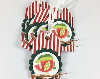 Tags, Christmas Tags, Set of 6, Holiday Wrapping, Gift Wrapping, Red and White Stripe Christmas Decor, Presents, Labels, package
