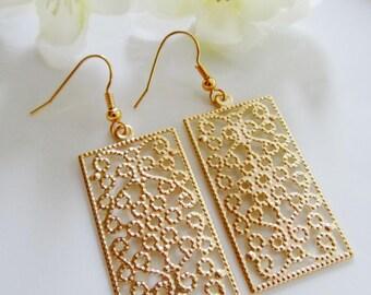Gold Filigree earrings, Rectangle, Flower Pattern, Moroccan, Bohemian, Geometric, Everyday Wear, Gardendiva